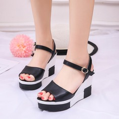 Women's Leatherette Wedge Heel Sandals Wedges Peep Toe With Buckle Split Joint shoes