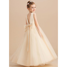 Ball-Gown/Princess Floor-length Flower Girl Dress - Satin/Tulle Sleeveless Scoop Neck With Beading/Bow(s) (010225314)