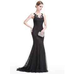 Trumpet/Mermaid Scoop Neck Sweep Train Tulle Lace Evening Dress