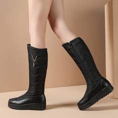 Women's Leatherette Fabric Wedge Heel Knee High Boots With Rhinestone shoes