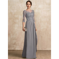 Scoop Neck Floor-Length Chiffon Lace Mother of the Bride Dress With Beading Sequins Cascading Ruffles (267232509)