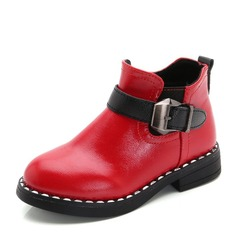 Girl's Closed Toe Ankle Boots Leatherette Flat Heel Flats Boots With Buckle Zipper