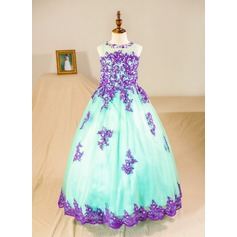 Ball Gown Floor-length Flower Girl Dress - Tulle Sleeveless Scoop Neck With Beading/Appliques (Petticoat NOT included)