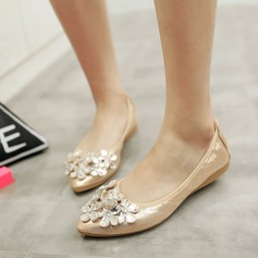 Women's PU Flat Heel Flats Closed Toe With Rhinestone shoes (086142464)