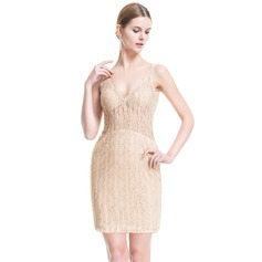Sheath/Column V-neck Short/Mini Lace Cocktail Dress With Beading Sequins