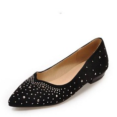 Women's Suede Low Heel Closed Toe Flats With Rhinestone Others