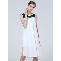 Chiffon With Stitching Asymmetrical Dress (199127745)