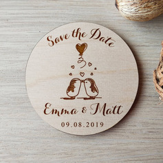 Personalized Penguin Baby Wooden Save-the-date Magnets