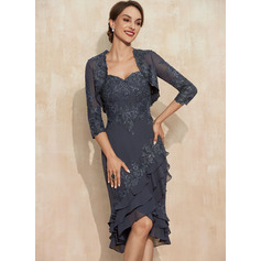 Sheath/Column Sweetheart Asymmetrical Chiffon Lace Mother of the Bride Dress With Sequins Cascading Ruffles