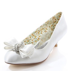 Women's Silk Like Satin Kitten Heel Closed Toe With Crystal