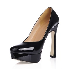 Women's Patent Leather Chunky Heel Pumps Platform Closed Toe shoes