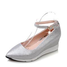 Frauen PVC Keil Absatz Keile mit Schnalle Schuhe