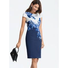 Polyester With Print Knee Length Dress (199173924)