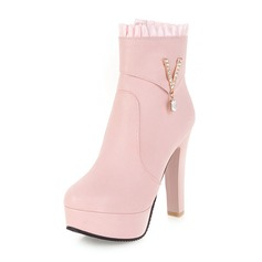 Women's Leatherette Chunky Heel Boots Ankle Boots With Rhinestone shoes