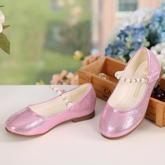 Girl's Closed Toe Leatherette Flat Heel Flats Flower Girl Shoes With Beading