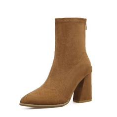 Women's Suede Chunky Heel Boots Ankle Boots With Others shoes