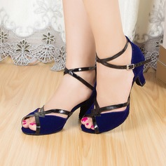 Women's Suede Heels Sandals Latin With Ankle Strap Dance Shoes