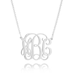 Custom Sterling Silver Letter Three Monogram Necklace - Birthday Gifts Mother's Day Gifts
