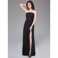 A-Line/Princess Strapless Floor-Length Chiffon Prom Dress With Beading Split Front