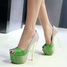 Women's Patent Leather Stiletto Heel Pumps Platform With Others shoes (085115633)