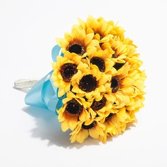 Unique Sunflower Round Satin Bridesmaid Bouquets