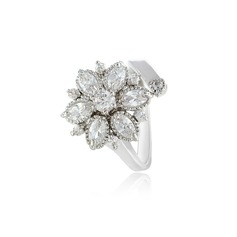 Snowflakes Shaped Zircon/Platinum Plated Ladies' Rings