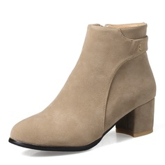 Women's Suede Chunky Heel Pumps Boots Ankle Boots With Zipper shoes (088153012)