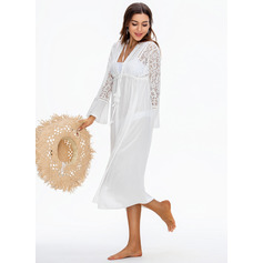 Bohemian Solid Color Polyester Lace Cover-ups (202228120)