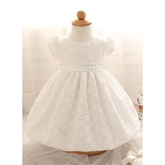 A-Line/Princess Knee-length Flower Girl Dress - Cotton Blends Short Sleeves Scoop Neck With Rhinestone