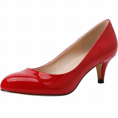 Women's Patent Leather Cone Heel Pumps Closed Toe shoes (085113525)