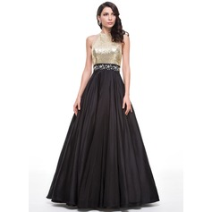 Ball-Gown Scoop Neck Floor-Length Taffeta Sequined Prom Dresses With Beading (018059418)