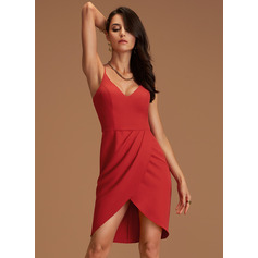 Sheath/Column V-neck Asymmetrical Stretch Crepe Cocktail Dress