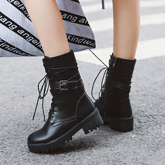 Women's PU Chunky Heel Platform Boots Mid-Calf Boots With Buckle Lace-up shoes