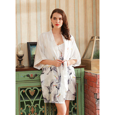 Non-personalized Polyester Bride Bridesmaid Floral Robes
