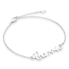 Christmas Gifts For Her - Custom Sterling Silver Link & Chain Bridesmaid Bracelets Name Bracelets (106218403)