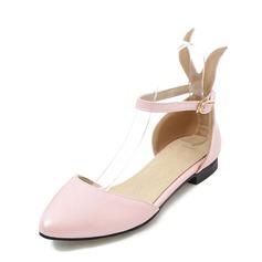 Women's PVC Flat Heel Sandals Flats With Buckle shoes