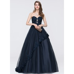 Ball-Gown Sweetheart Sweep Train Tulle Prom Dresses With Beading Sequins Cascading Ruffles
