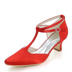 Women's Silk Like Satin Chunky Heel Pumps With Others