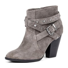 Women's Suede Chunky Heel Pumps Closed Toe Boots Mid-Calf Boots With Rivet Buckle shoes