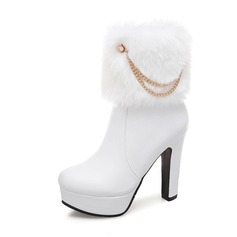 Women's Leatherette Chunky Heel Boots Closed Toe With Others