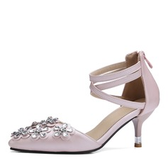 Women's Leatherette Stiletto Heel Closed Toe Pumps Sandals With Flower Crystal