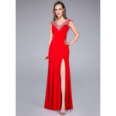 Trumpet/Mermaid V-neck Sweep Train Jersey Prom Dresses With Beading Split Front