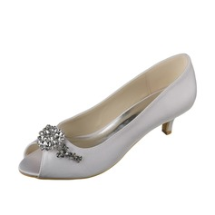 Women's Satin Low Heel Peep Toe Pumps With Rhinestone