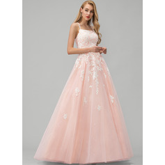 Ball-Gown/Princess Square Neckline Floor-Length Tulle Evening Dress With Lace Sequins
