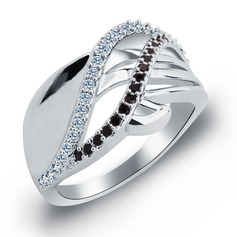 Pretty Zircon/Platinum Plated Ladies' Rings