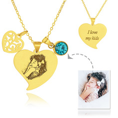 Custom 18k Gold Plated Silver Heart Engraving/Engraved Photo Black And White Heart Necklace Birthstone Necklace Engraved Necklace Photo Necklace With Birthstone Leaf - Birthday Gifts