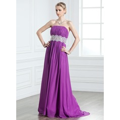A-Line/Princess Strapless Sweep Train Chiffon Prom Dress With Ruffle Lace