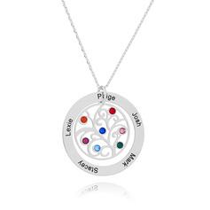 Custom Silver Engraving/Engraved Family Necklace Circle Necklace With Family Tree Birthstone - Birthday Gifts Mother's Day Gifts