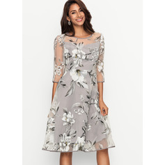 Polyester/Organza With Print Knee Length Dress (199170463)