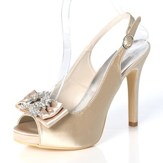 Women's Silk Like Satin Stiletto Heel Peep Toe Platform Pumps Sandals Slingbacks With Bowknot Buckle Rhinestone